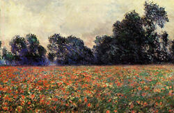 No Framed Oil Painting Claude Monet - Impressionism Landscape Poppies At Giverny