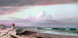 Oil Painting Francis A. Silva - On The Connecticut Shore And Waves Canoe People