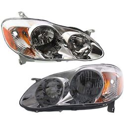 Headlight Set For 2003-2004 Toyota Corolla Le Ce Sedan Left And Right With Bulb