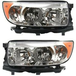 Headlight Set For 2006-2008 Subaru Forester Wagon Left And Right With Bulb 2pc