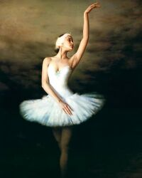 Oil Painting Beautiful Young Ballet Girl In White Ballet Skirt Canvas