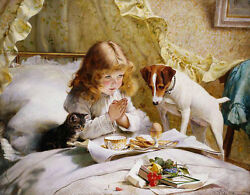 Oil painting Charles Burton Barber - Suspense girl with her pet dog cat on bed