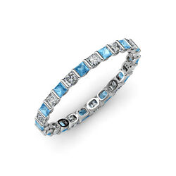 Blue Topaz And Diamond Si1-si2 G-h Princess Cut Channel Eternity Band 14k Gold