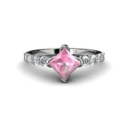 Diamond And Center Pink Tourmaline Engagement Ring 1.83 Cttw In 14k Gold Jp35455
