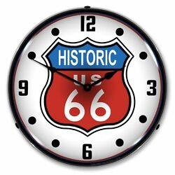 New Historic Route 66 Retro Backlit Lighted Clock - Free Shipping And Handling