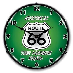 New Route 66 The Mother Road Backlit Lighted Clock - Free Shipping And Handling