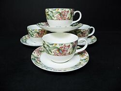 Royal Doulton Jacobean Set Of 4 Cups And Saucers