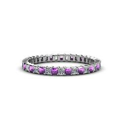Princess Amethyst And Diamond Eternity Ring Stackable 1.63 Ctw 14k Gold Jp33634