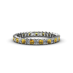 Princess Citrine And Diamond Eternity Ring Stackable 2.38 Ctw 14k Gold Jp33495