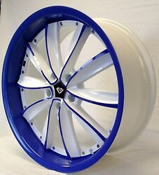 20x8.5 Style 981 White And Blue Face Bolt Pattern 5x4.5 Fit Mustang 350z Accord