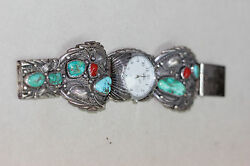 Vtg Navajo Watch Band Pj Green And Blue Turquoise Red Branch Coral Slide In Clasp