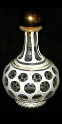 Pcw-bg010-bohemian Glass. Opaque Cased Cut To Clear Glass Decanter W/ Stopper.