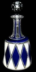 Pcw-bg012-bohemian Glass. Blue And White Cased Colorless Decanter W/ Stopper