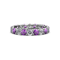 Amethyst And Diamond Womens Eternity Ring Stackable 2.76 Ctw 14k Gold Jp29609