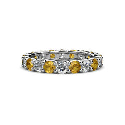 Citrine And Diamond Womens Eternity Ring Stackable 2.76 Ctw 14k Gold Jp29615