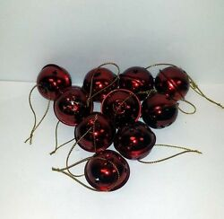 Lot Of 48 Pieces - Red Shiny 1.25 Jingle Bell Ornaments + Free Shipping