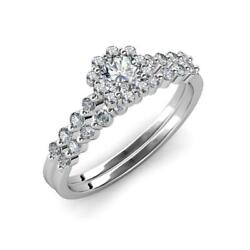 Diamond Floral Halo Engagement Ring And Diamond Band 1.30 Ctw 14k Gold. Jp74000