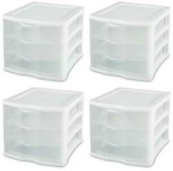 Sterilite Clearview Compact Portable 3 Storage Drawer Organizer Cabinet 4 Pack