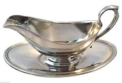 Hotel Style Silver Gravy Or Sauce Boat With Under Tray Bowl Serving Tray -gorham