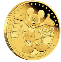 2014 Niue 25 1/4 Oz .999 Fine Gold Proof Coin Disney World Land Mickey Mouse