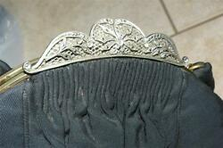 Antique Black Silk Purse Stefenly Llewellyn Marcasite Frame Gorgeous