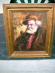 MAN WITH PIPE OIL PAINTING & FRAME 27