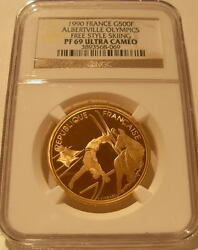 France 1990 Gold 500 Francs Ngc Pf69uc Albertville Olympics - Free Style Skiing