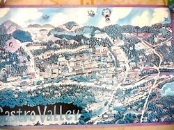Vintage Cartoon Map Castro Valley California Hwy 580 Lake Chabot Businesses 1987