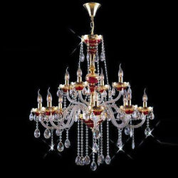 New Crystals Chandelier Red W/ 24k Gold Plated 37x35
