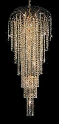 New Crystal Chandelier Falls 24k Gold Plated 21x50