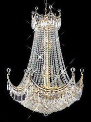 New Crystal Chandelier Corona 24k Gold Plated 30x40