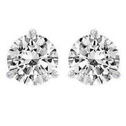 Diamond Stud Round cut Earrings 1.55 ct total weight 14k White Gold - Certified