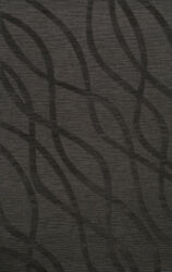Black Transitional Hand Hooked Swirls Lines Stripes Area Rug Abstract Dv10
