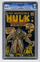 Hulk #1 CGC 6.0 Marvel 1962 Silver Age Holy Grail!! RARE! WHITE pages! 129 cm bo