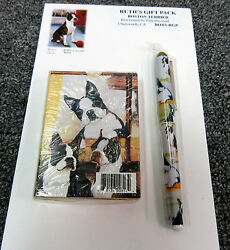 New Boston Terrier Dog Playing Card Pen & Note Pad Gift Set #BOT5-RGP Dogs