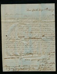 1837 3pg To American Painter Thomas Cole From Sara Cole Re Exhibition Criticism
