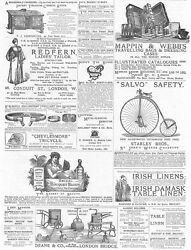 Victorian Adverts Lawn Mowers, Bridal Bouquets, Cycles - Antique Print 1885