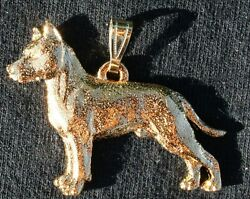 AMERICAN STAFFORDSHIRE BULL TERRIER Amstaff  Dog 24K Gold Plated Pewter Pendant