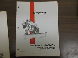 Simplicity 60 Dozer Blade Owners And Maintenance Manual Model 728