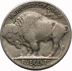 1938d Buffalo Nickel 5 Cents Of United States Of America Usa Antique Coin I43916