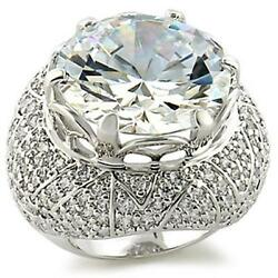 Large 52ct Clear Cz Stone Rhodium Ep Ladies Cocktail Ring