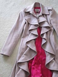 Tom Ford For Yves Saint Laurent Dusty Rose Wool Ruffle Hot Pink Lined Coat Dress