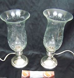 Pair Of English Gadroon Styled Sterling Column Table Lamps Early 20th Century