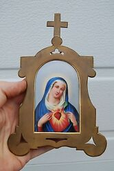 + Old Vintage Enamel And Brass Immaculate Heart Of Mary + Chalice Co.+ Jc1003
