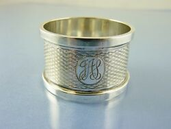 Art Deco Rolled Edge Sterling Napkin Ring By H M Birmingham 1924 Jas