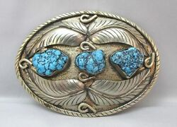 Southwestern Sterling Belt Buckle W/ 4 Feathers And Turquoise Nuggets Unmarked