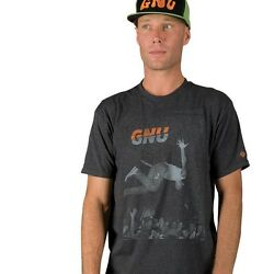 Gnu Snowboard Skateboard Surf Colver Punk Tee-shirt Mens Medium Charcoal New