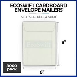 3000 - 6 X 8 White Cd/dvd Photo Shipping Flats Cardboard Envelope Mailers 6x8
