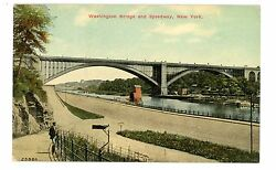 New York City Nyc -washington Bridge And Speedway On Harlem River- Postcard