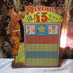 Reveille Vintage Gambling Punch Board Jackpot Military Theme Multi Layered T